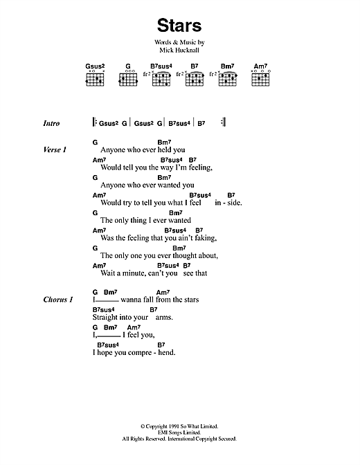 Simply Red Stars sheet music notes and chords. Download Printable PDF.