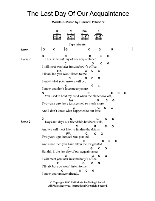 Sinead O'Connor The Last Day Of Our Acquaintance sheet music notes and chords. Download Printable PDF.