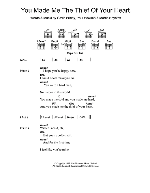 Sinead O'Connor You Made Me The Thief Of Your Heart sheet music notes and chords. Download Printable PDF.