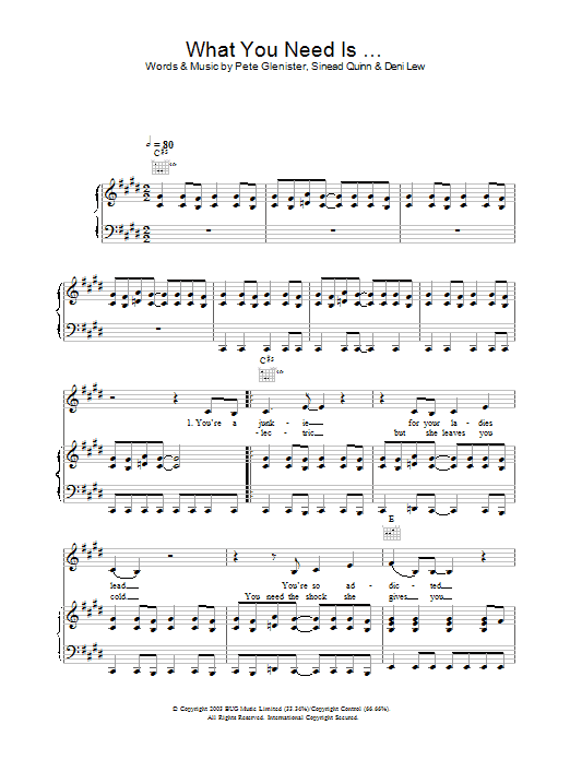 Sinead Quinn What You Need Is … sheet music notes and chords. Download Printable PDF.