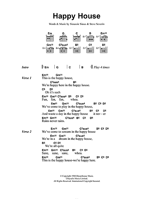 Siouxsie & The Banshees Happy House sheet music notes and chords. Download Printable PDF.