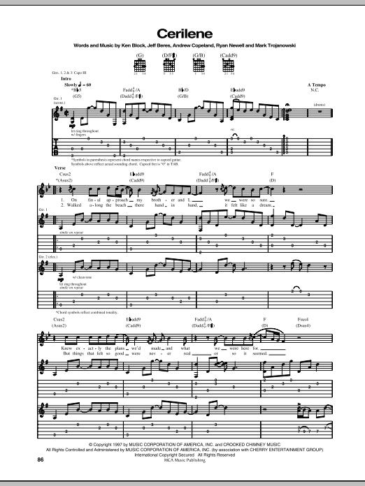 Sister Hazel Cerilene sheet music notes and chords. Download Printable PDF.