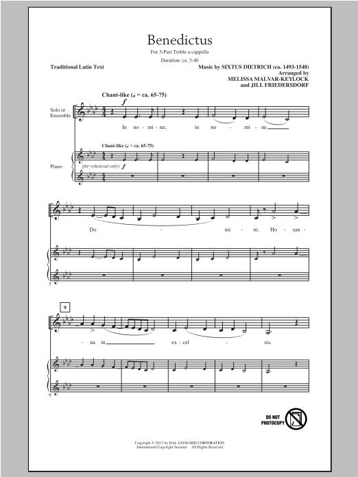 Sixtus Dietrich Benedictus (arr. Jill Friedersdorf and Melissa Malvar-Keylock) sheet music notes and chords
