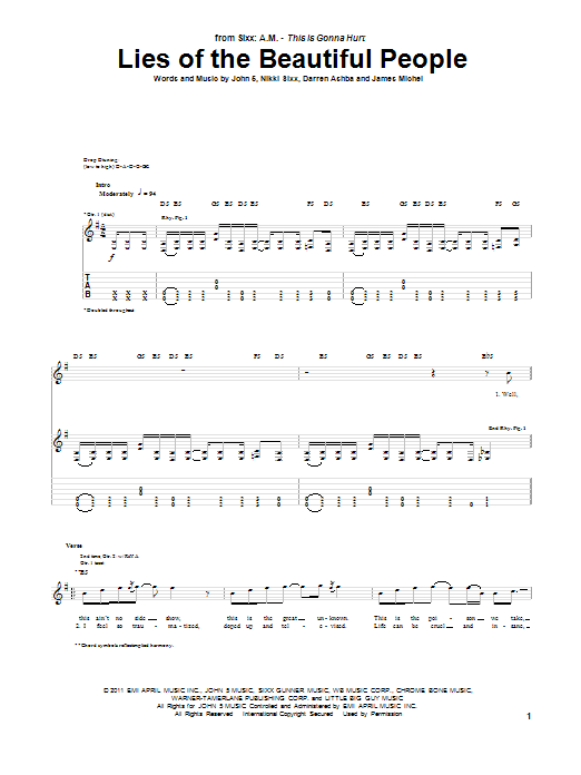 Sixx A.M. Lies Of The Beautiful People sheet music notes and chords. Download Printable PDF.