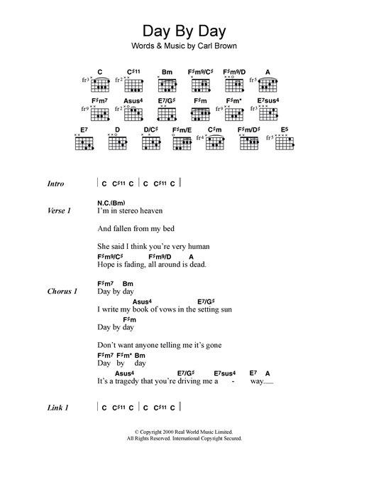 Sizer Barker Day By Day sheet music notes and chords. Download Printable PDF.