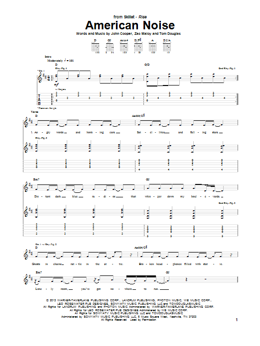 Skillet American Noise sheet music notes and chords. Download Printable PDF.