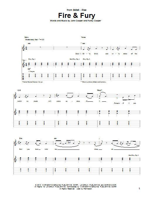 Skillet Fire & Fury sheet music notes and chords. Download Printable PDF.