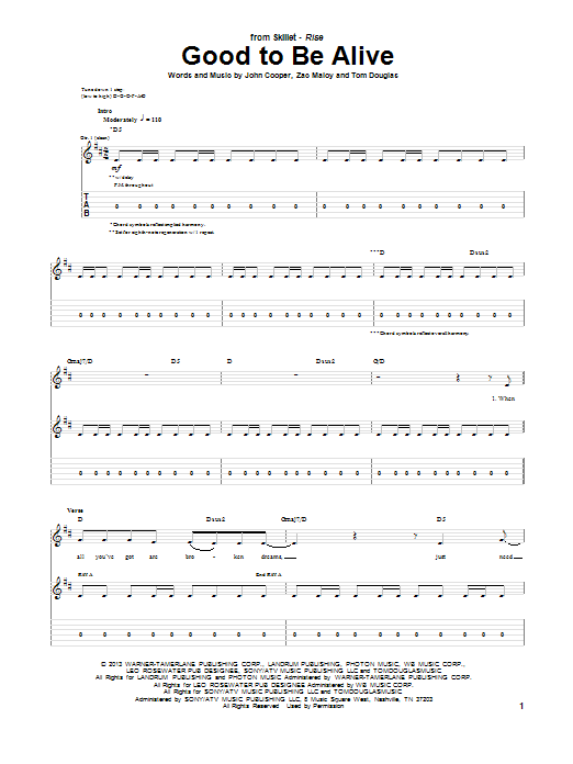 Skillet Good To Be Alive sheet music notes and chords. Download Printable PDF.