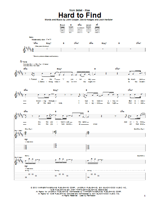 Skillet Hard To Find sheet music notes and chords. Download Printable PDF.