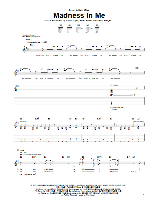 Skillet Madness In Me sheet music notes and chords. Download Printable PDF.