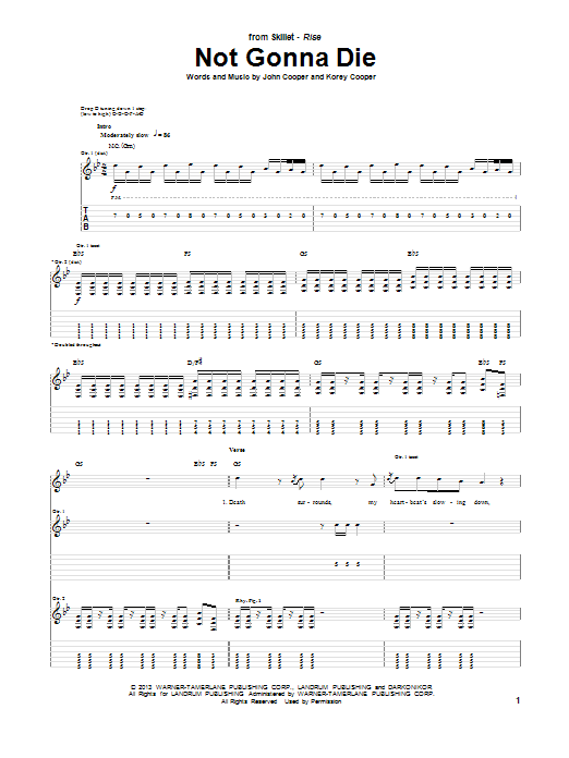 Skillet Not Gonna Die sheet music notes and chords. Download Printable PDF.