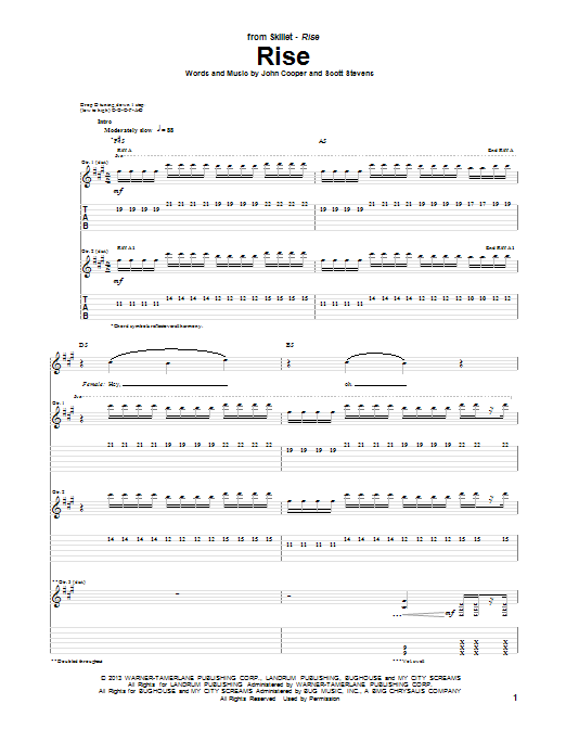 Skillet Rise sheet music notes and chords. Download Printable PDF.