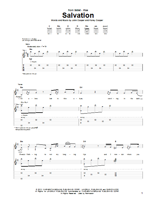 Skillet Salvation sheet music notes and chords. Download Printable PDF.