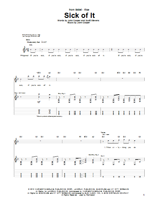 Skillet Sick Of It sheet music notes and chords. Download Printable PDF.