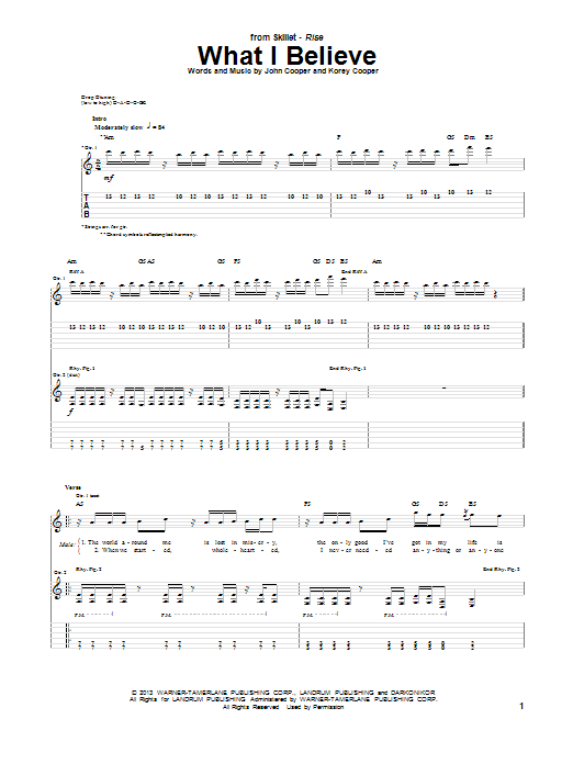 Skillet What I Believe sheet music notes and chords. Download Printable PDF.