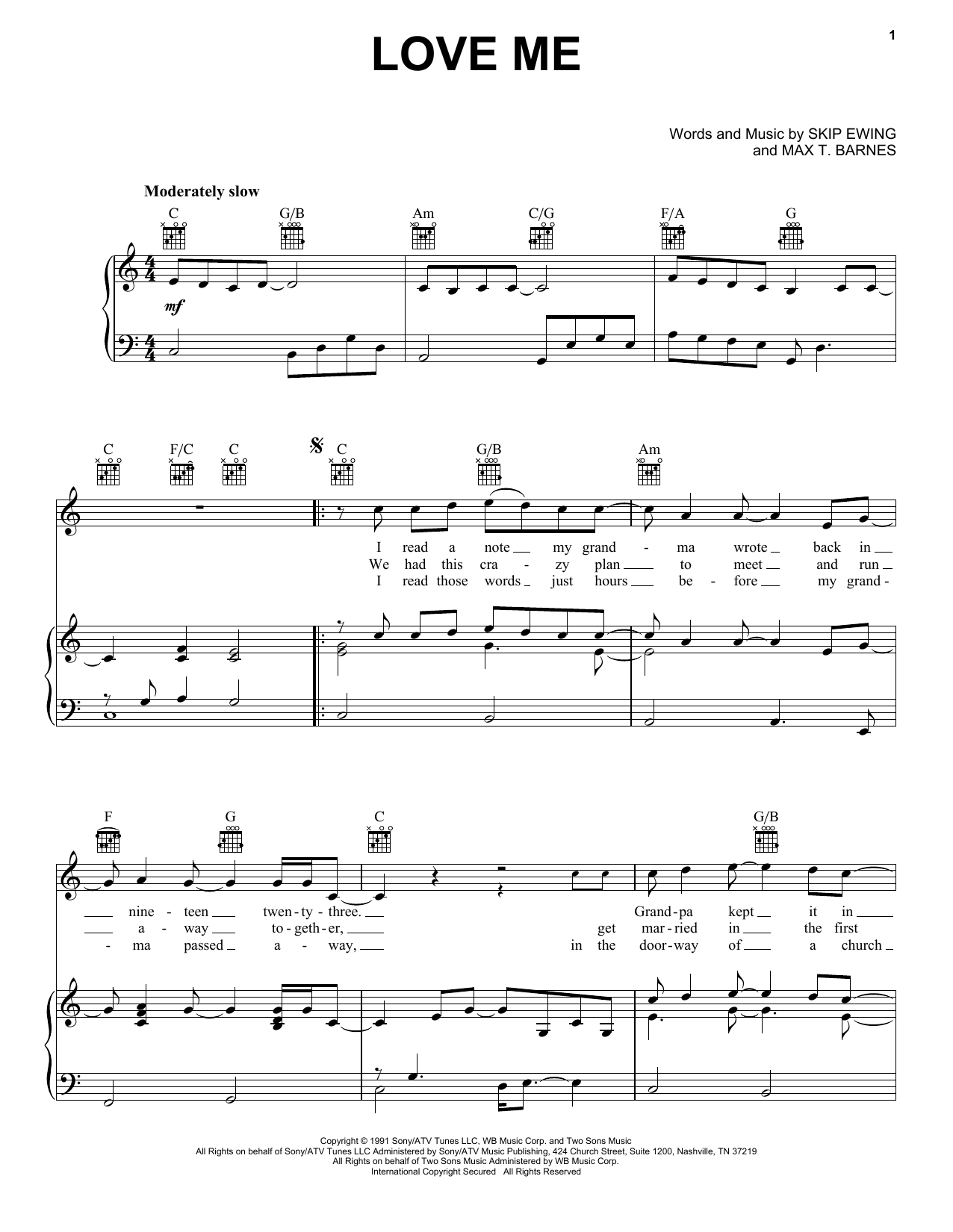 Skip Ewing Love Me sheet music notes and chords. Download Printable PDF.