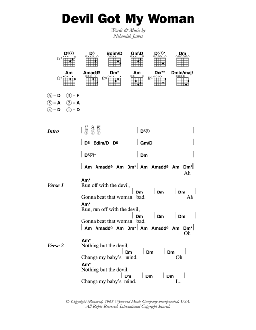 Skip James Devil Got My Woman sheet music notes and chords. Download Printable PDF.