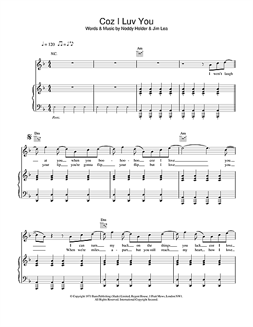Slade Coz I Luv You sheet music notes and chords. Download Printable PDF.
