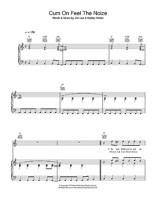 Slade Cum On Feel The Noize sheet music notes and chords. Download Printable PDF.