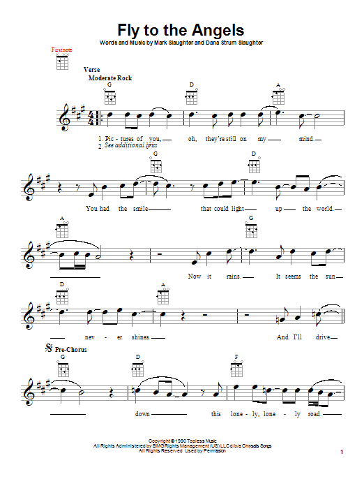 Slaughter Fly To The Angels sheet music notes and chords. Download Printable PDF.