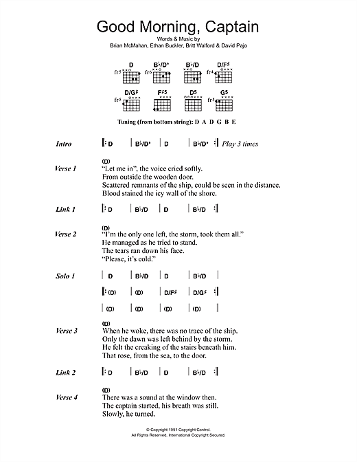 Slint Good Morning, Captain sheet music notes and chords. Download Printable PDF.