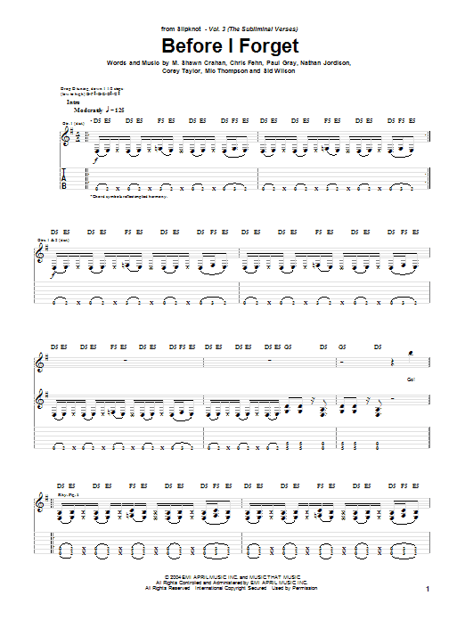 Slipknot Before I Forget sheet music notes and chords. Download Printable PDF.