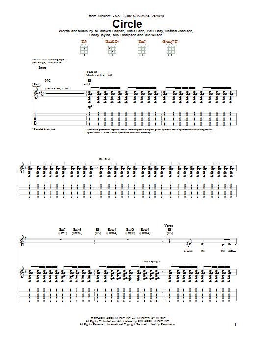 Slipknot Circle sheet music notes and chords. Download Printable PDF.