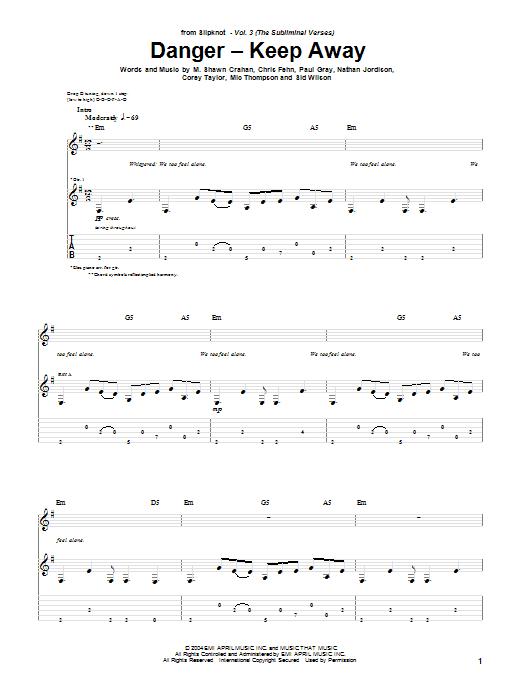 Slipknot Danger - Keep Away sheet music notes and chords. Download Printable PDF.