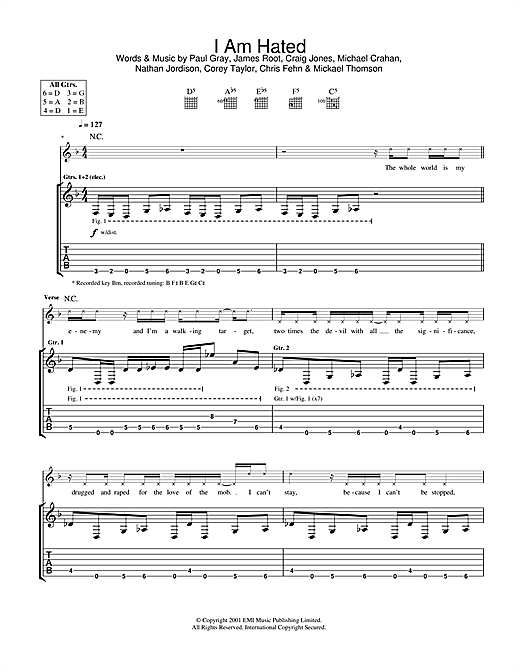 Slipknot I Am Hated sheet music notes and chords. Download Printable PDF.