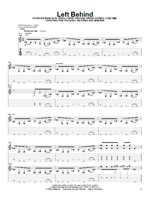 Slipknot Left Behind sheet music notes and chords