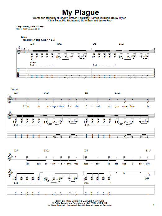 Slipknot My Plague sheet music notes and chords. Download Printable PDF.
