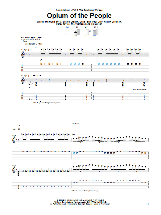 Slipknot Opium Of The People sheet music notes and chords. Download Printable PDF.