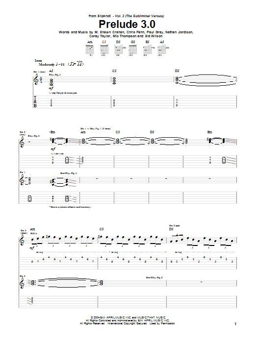 Slipknot Prelude 3.0 sheet music notes and chords. Download Printable PDF.