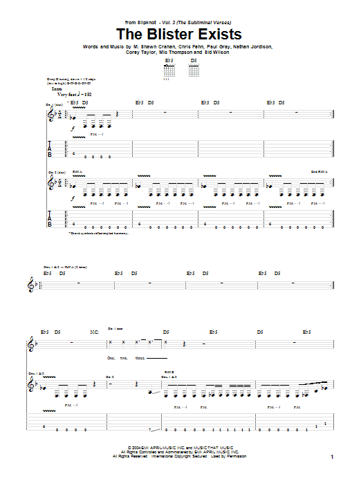 Slipknot The Blister Exists sheet music notes and chords. Download Printable PDF.