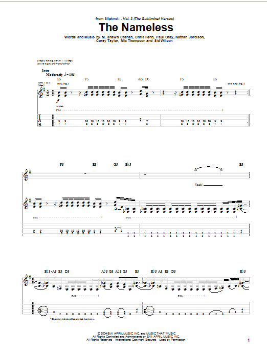 Slipknot The Nameless sheet music notes and chords. Download Printable PDF.