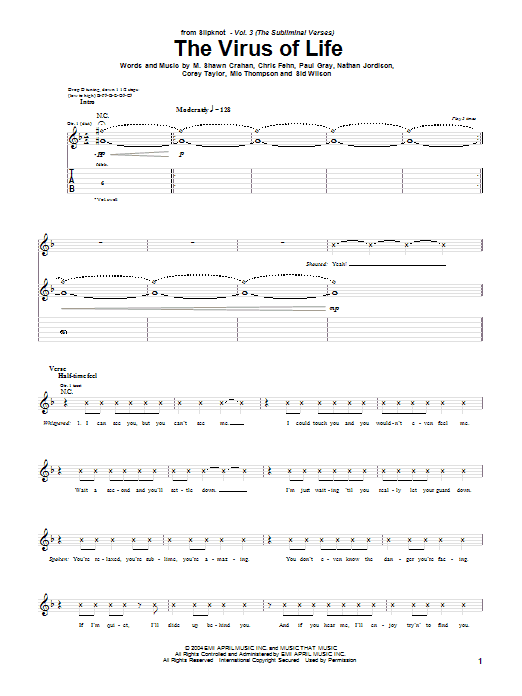 Slipknot The Virus Of Life sheet music notes and chords. Download Printable PDF.