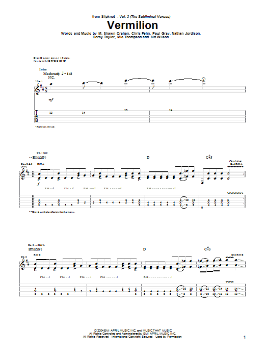 Slipknot Vermilion sheet music notes and chords. Download Printable PDF.