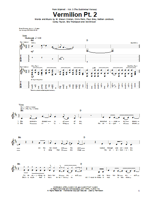 Slipknot Vermilion Pt. 2 sheet music notes and chords. Download Printable PDF.
