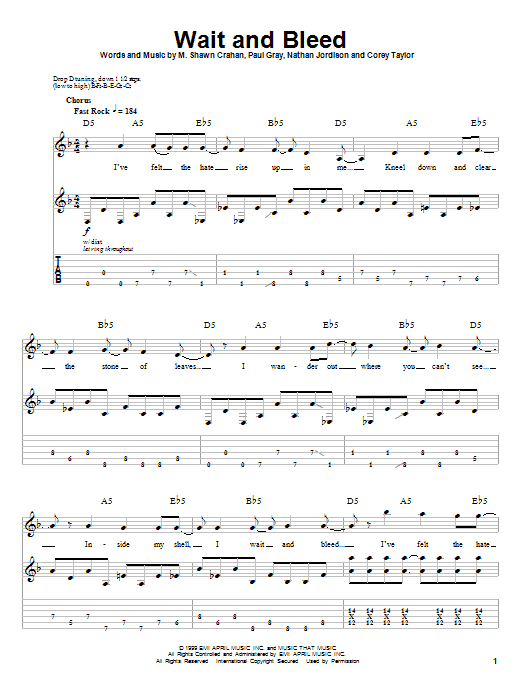 Slipknot Wait And Bleed sheet music notes and chords. Download Printable PDF.
