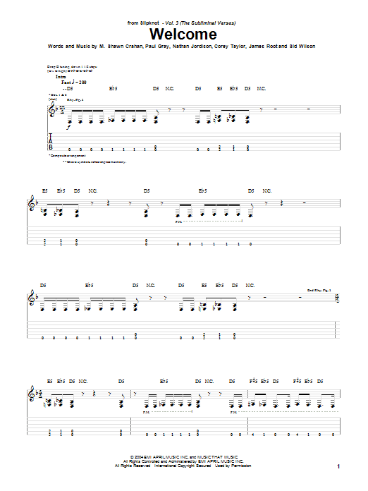 Slipknot Welcome sheet music notes and chords. Download Printable PDF.