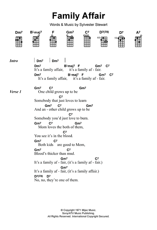 Sly & The Family Stone Family Affair sheet music notes and chords. Download Printable PDF.
