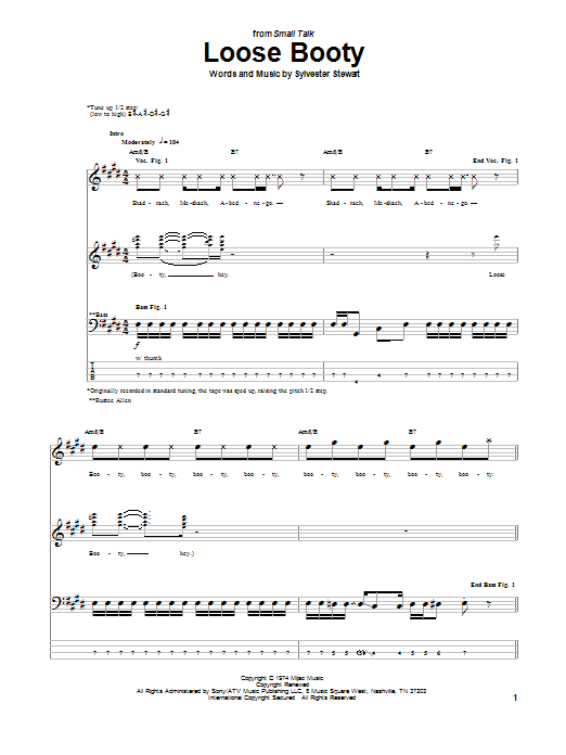 Sly & The Family Stone Loose Booty sheet music notes and chords. Download Printable PDF.