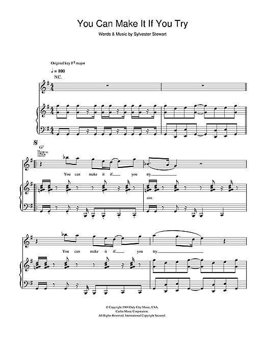 Sly & The Family Stone You Can Make It If You Try sheet music notes and chords. Download Printable PDF.