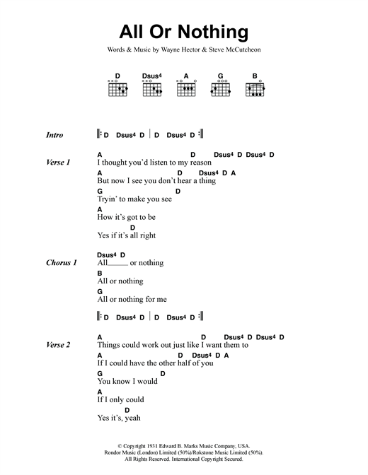 Small Faces All Or Nothing sheet music notes and chords. Download Printable PDF.