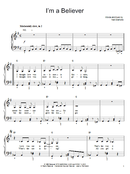 Smash Mouth I'm A Believer sheet music notes and chords. Download Printable PDF.