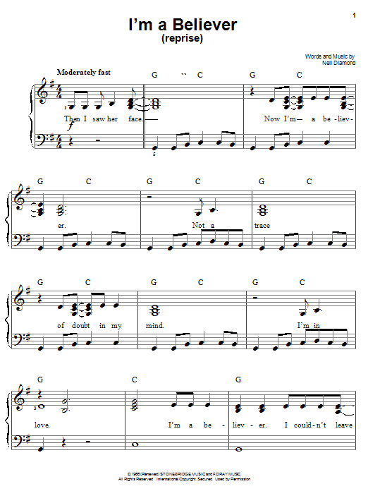 Smash Mouth I'm A Believer (Reprise) sheet music notes and chords