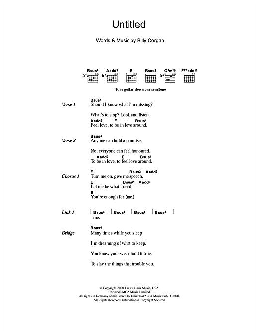Smashing Pumpkins Untitled sheet music notes and chords. Download Printable PDF.