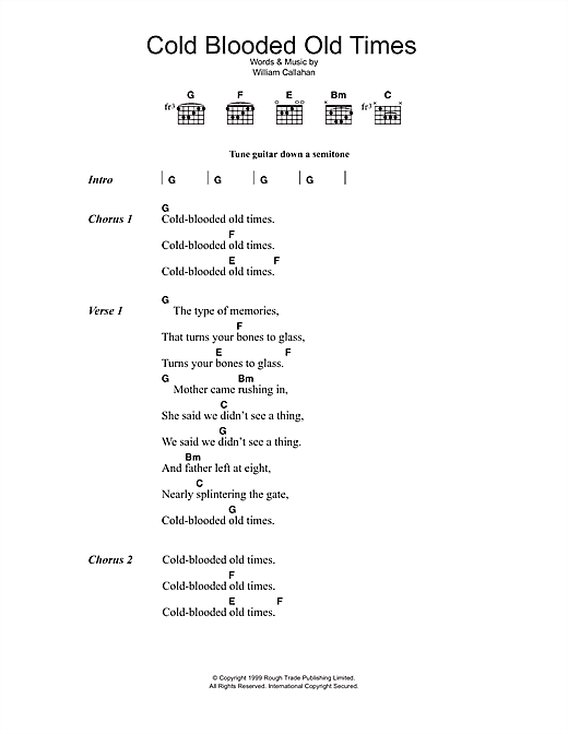 Smog Cold Blooded Old Times sheet music notes and chords. Download Printable PDF.