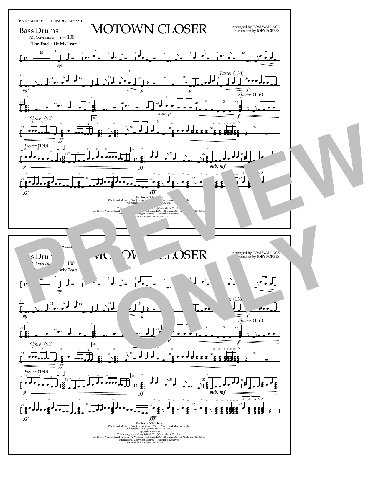 Smokey Robinson Motown Closer (arr. Tom Wallace) - Bass Drums sheet music notes and chords. Download Printable PDF.