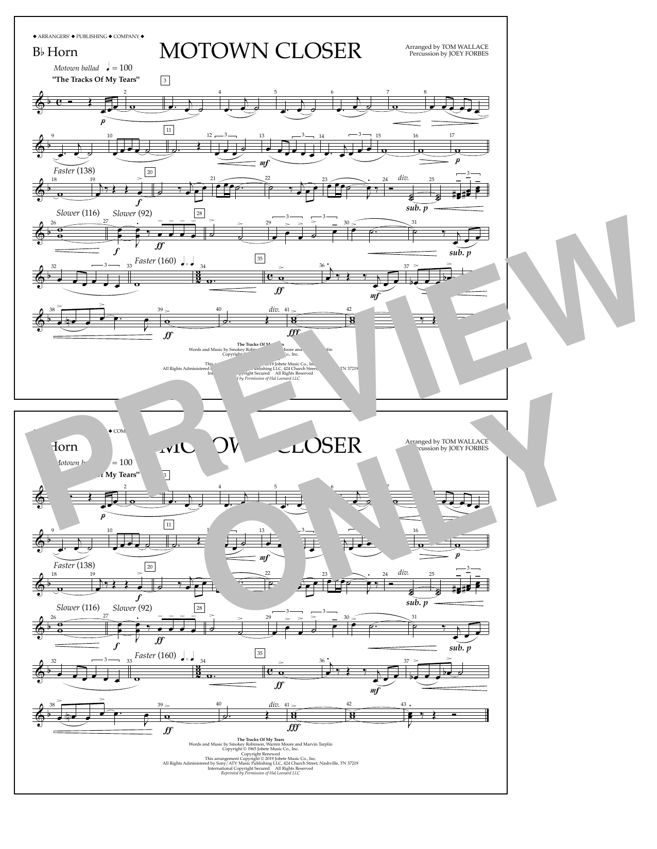 Smokey Robinson Motown Closer (arr. Tom Wallace) - Bb Horn sheet music notes and chords. Download Printable PDF.